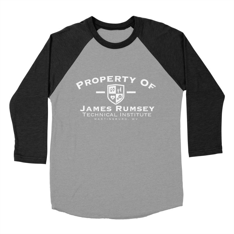 Property of James Rumsey - white print Men's Baseball Triblend Longsleeve T-Shirt by James Rumsey Technical Institute