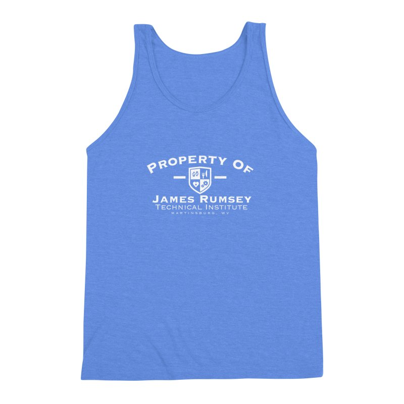 Property of James Rumsey - white print Men's Triblend Tank by James Rumsey Technical Institute