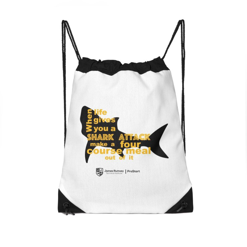 Shark Attack - ProStart Accessories Drawstring Bag Bag by James Rumsey Technical Institute
