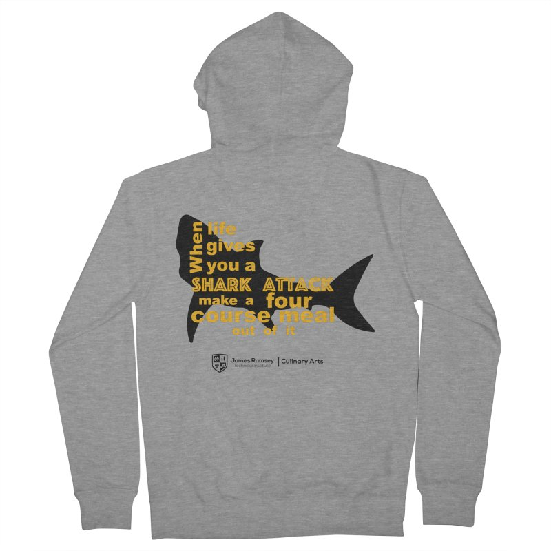 Shark Attack - Culinary Arts Men's French Terry Zip-Up Hoody by James Rumsey Technical Institute