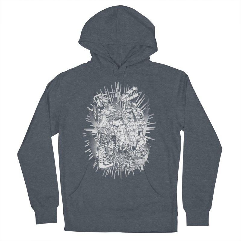 BOTS VS. KAIJUS- Black and White version Men's Pullover Hoody by jrtoyman's Artist Shop