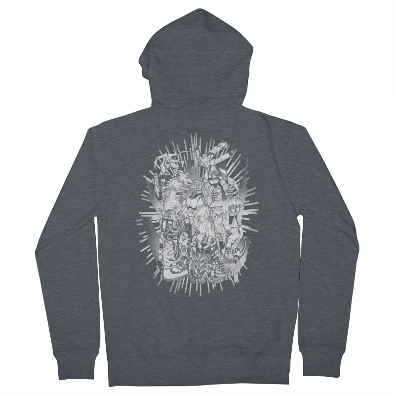 BOTS VS. KAIJUS- Black and White version Men's Zip-Up Hoody by jrtoyman's Artist Shop