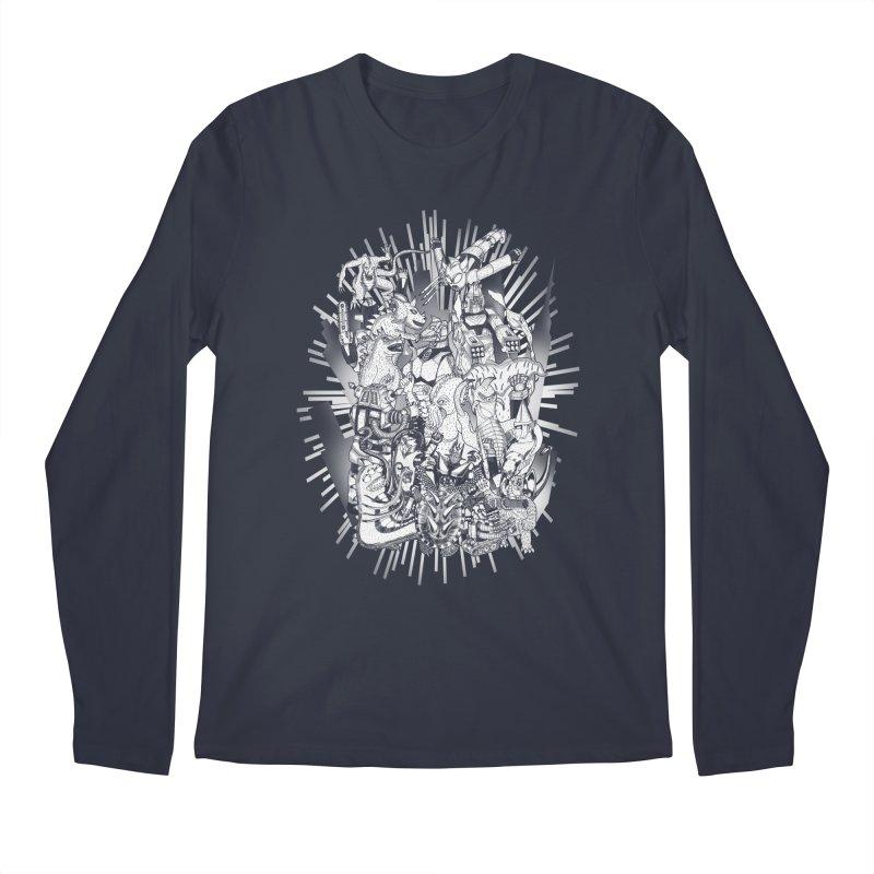 BOTS VS. KAIJUS- Black and White version Men's Longsleeve T-Shirt by jrtoyman's Artist Shop