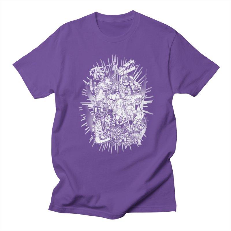 BOTS VS. KAIJUS- Black and White version Men's T-Shirt by jrtoyman's Artist Shop