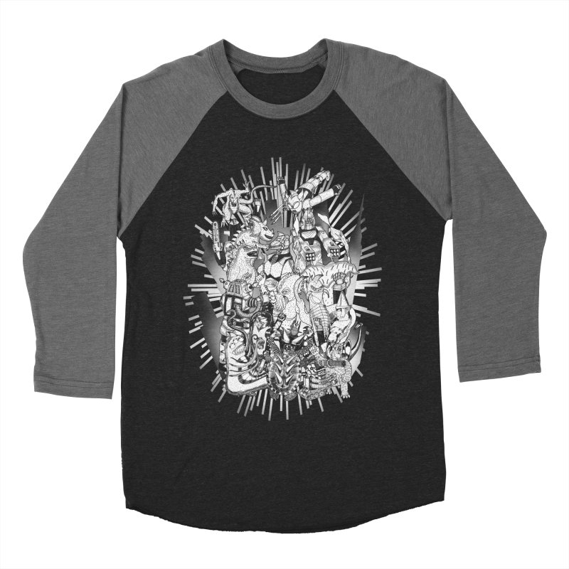 BOTS VS. KAIJUS- Black and White version Women's Baseball Triblend T-Shirt by jrtoyman's Artist Shop
