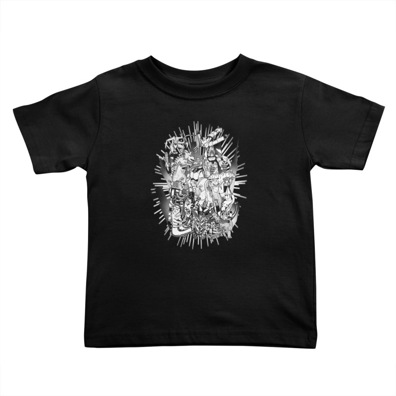BOTS VS. KAIJUS- Black and White version Kids Toddler T-Shirt by jrtoyman's Artist Shop