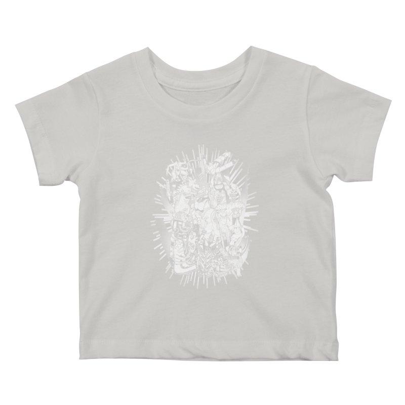 BOTS VS. KAIJUS- Black and White version Kids Baby T-Shirt by jrtoyman's Artist Shop