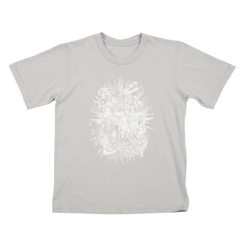 BOTS VS. KAIJUS- Black and White version Kids T-shirt by jrtoyman's Artist Shop