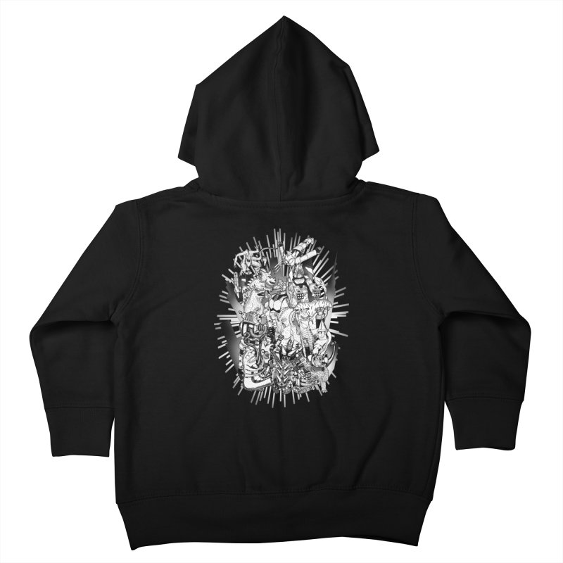 BOTS VS. KAIJUS- Black and White version Kids Toddler Zip-Up Hoody by jrtoyman's Artist Shop