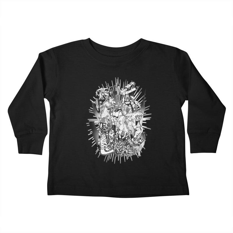 BOTS VS. KAIJUS- Black and White version Kids Toddler Longsleeve T-Shirt by jrtoyman's Artist Shop