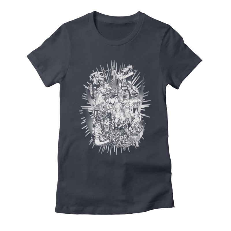 BOTS VS. KAIJUS- Black and White version Women's Fitted T-Shirt by jrtoyman's Artist Shop