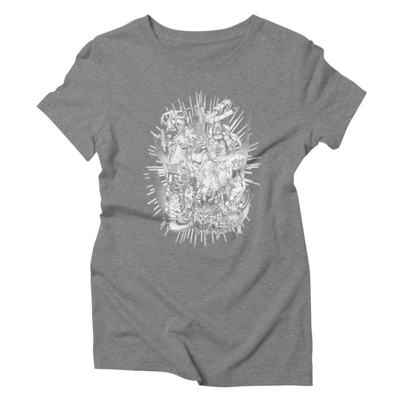 BOTS VS. KAIJUS- Black and White version Women's Triblend T-Shirt by jrtoyman's Artist Shop