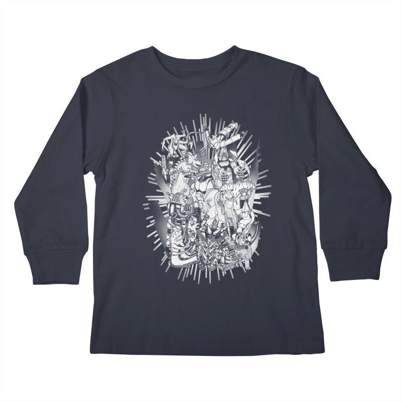 BOTS VS. KAIJUS- Black and White version Kids Longsleeve T-Shirt by jrtoyman's Artist Shop