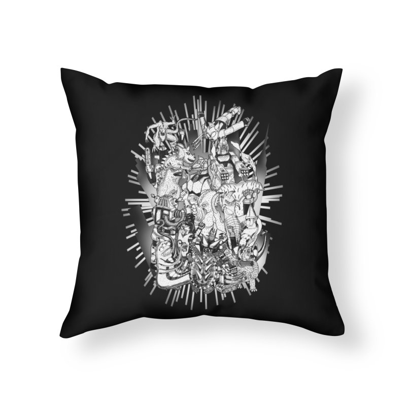 BOTS VS. KAIJUS- Black and White version Home Throw Pillow by jrtoyman's Artist Shop
