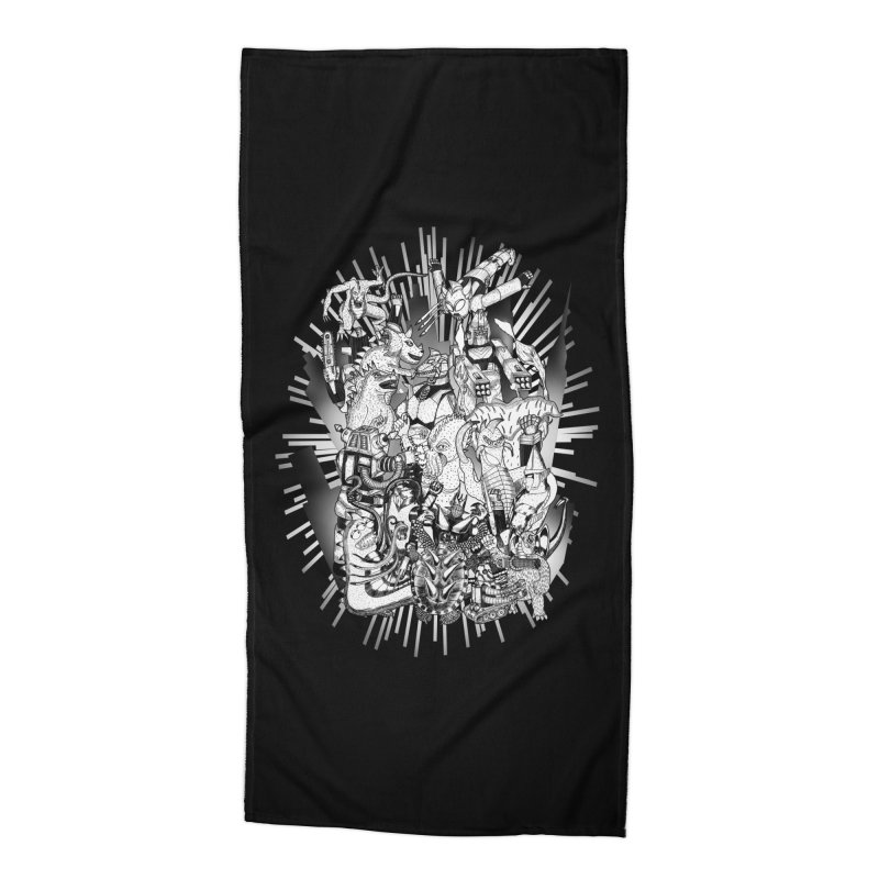 BOTS VS. KAIJUS- Black and White version Accessories Beach Towel by jrtoyman's Artist Shop