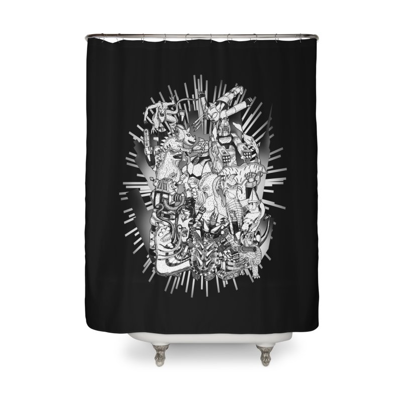 BOTS VS. KAIJUS- Black and White version Home Shower Curtain by jrtoyman's Artist Shop