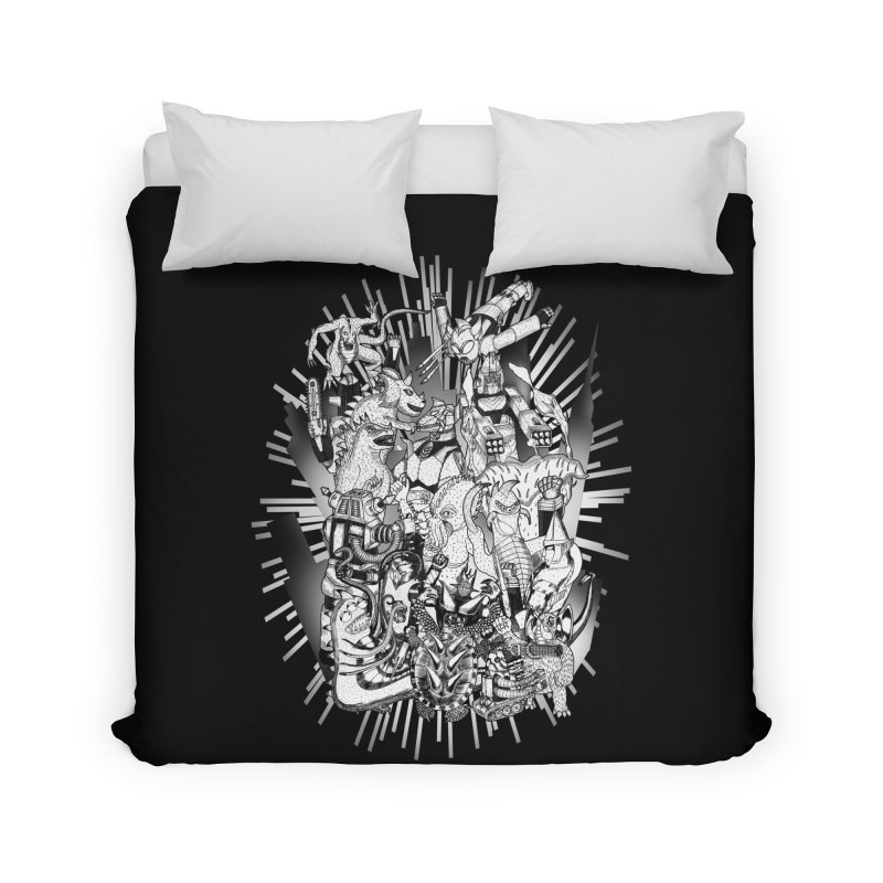 BOTS VS. KAIJUS- Black and White version Home Duvet by jrtoyman's Artist Shop