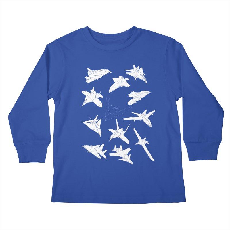 STEALTH PAPER PLANE (BLACK & WHITE) Kids Longsleeve T-Shirt by jrtoyman's Artist Shop