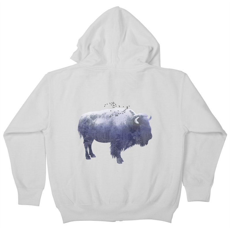 WINTER BISON Kids Zip-Up Hoody by jrtoyman's Artist Shop