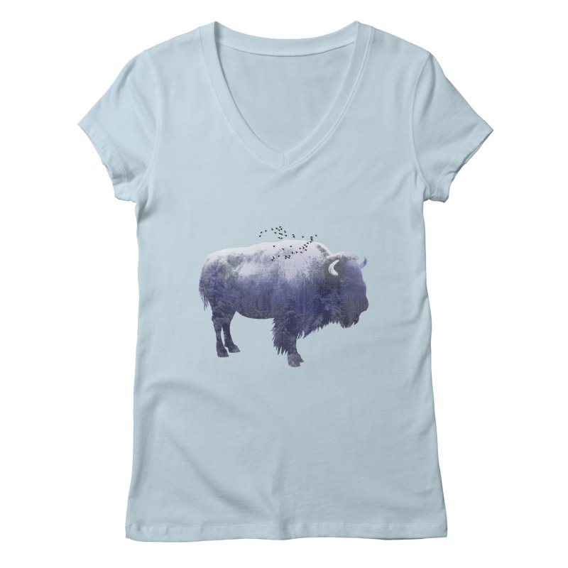 WINTER BISON Women's V-Neck by jrtoyman's Artist Shop