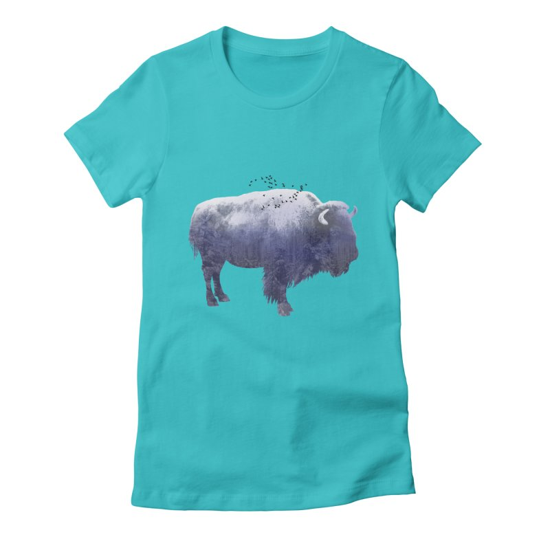WINTER BISON Women's Fitted T-Shirt by jrtoyman's Artist Shop