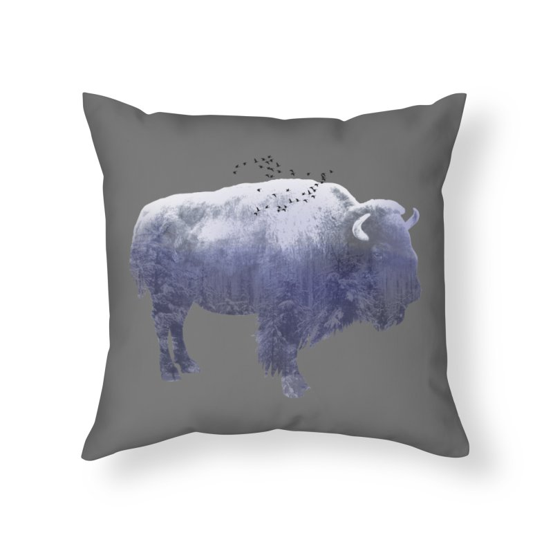 WINTER BISON Home Throw Pillow by jrtoyman's Artist Shop