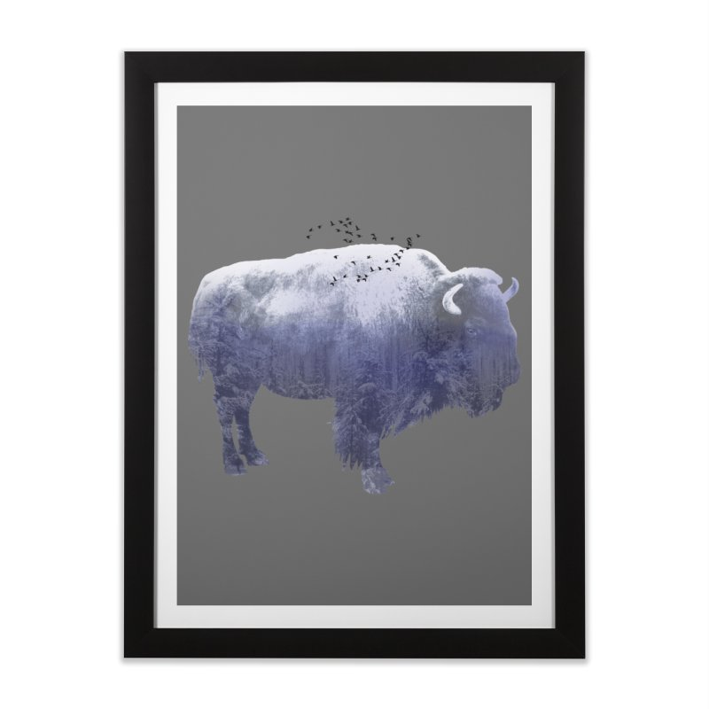 WINTER BISON Home Framed Fine Art Print by jrtoyman's Artist Shop