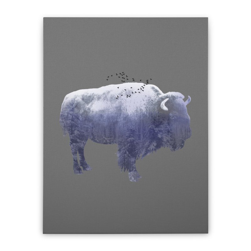 WINTER BISON Home Stretched Canvas by jrtoyman's Artist Shop