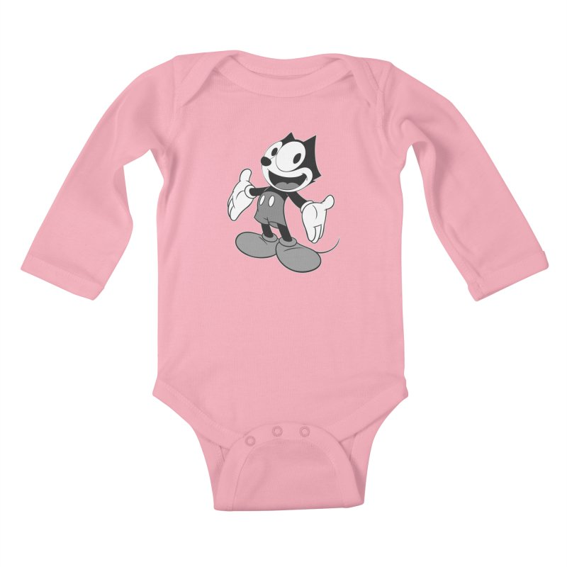 FELIX THE MOUSE-gray variant Kids Baby Longsleeve Bodysuit by jrtoyman's Artist Shop