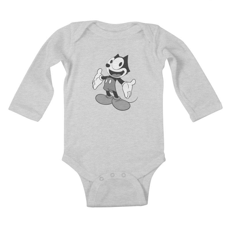 FELIX THE MOUSE-gray variant Kids Baby Longsleeve Bodysuit by jrtoyman's Artist Shop