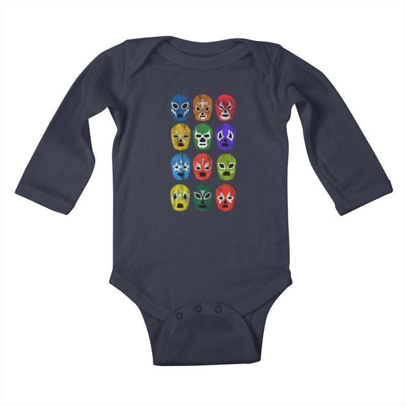 LUCHADORES Kids Baby Longsleeve Bodysuit by jrtoyman's Artist Shop