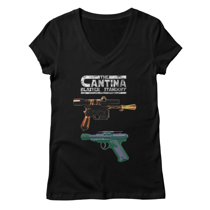 THE CANTINA BLASTER STANDOFF Women's V-Neck by jrtoyman's Artist Shop