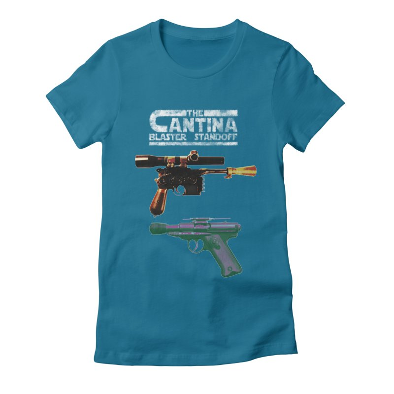 THE CANTINA BLASTER STANDOFF Women's Fitted T-Shirt by jrtoyman's Artist Shop