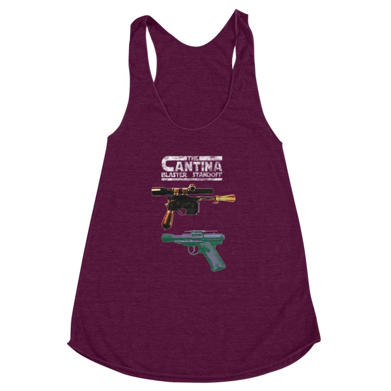 THE CANTINA BLASTER STANDOFF Women's Racerback Triblend Tank by jrtoyman's Artist Shop