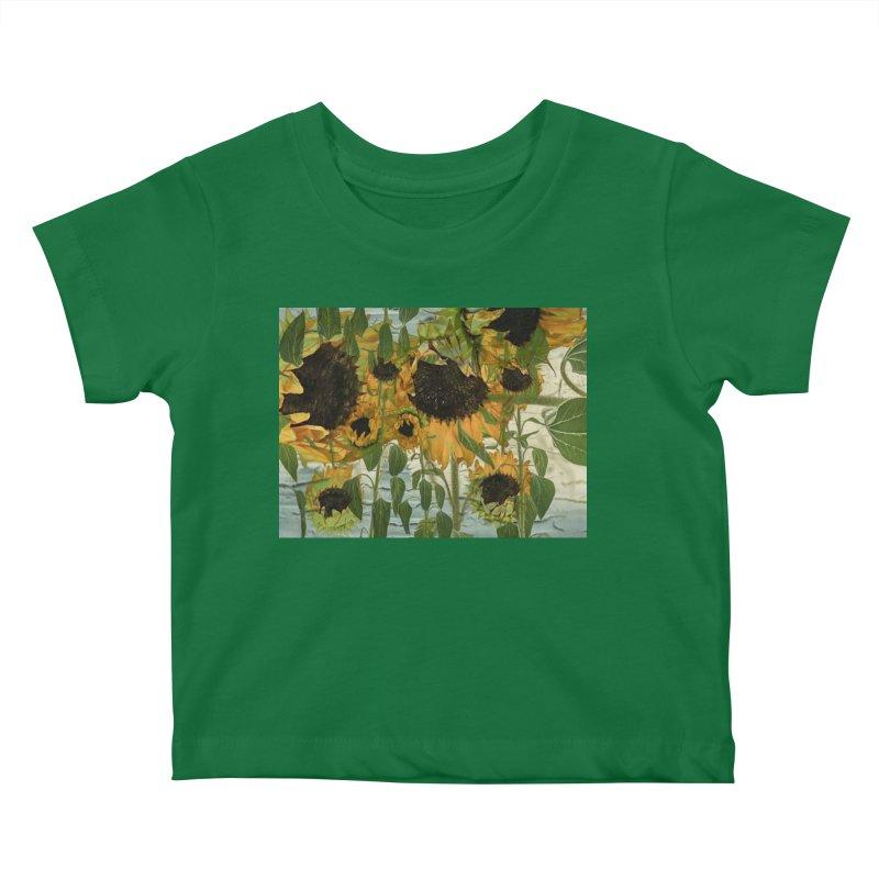 Sunflowerz Lil Ones Baby T-Shirt by Jesse Singh's Artist Shop
