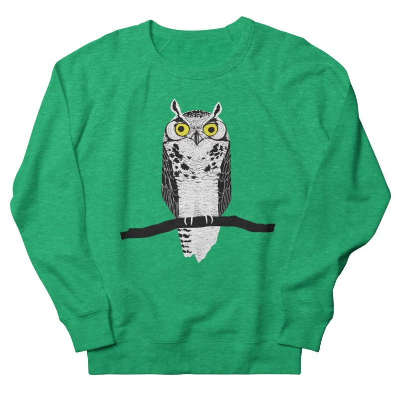 Great Owl Men's French Terry Sweatshirt by jstumpenhorst