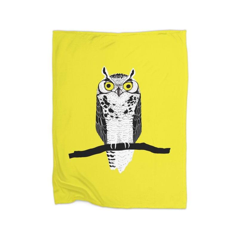 Great Owl Home Fleece Blanket Blanket by jstumpenhorst