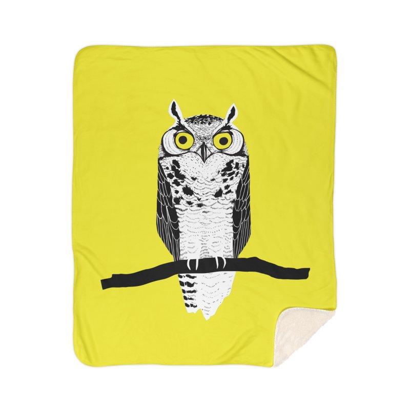 Great Owl Home Sherpa Blanket Blanket by jstumpenhorst