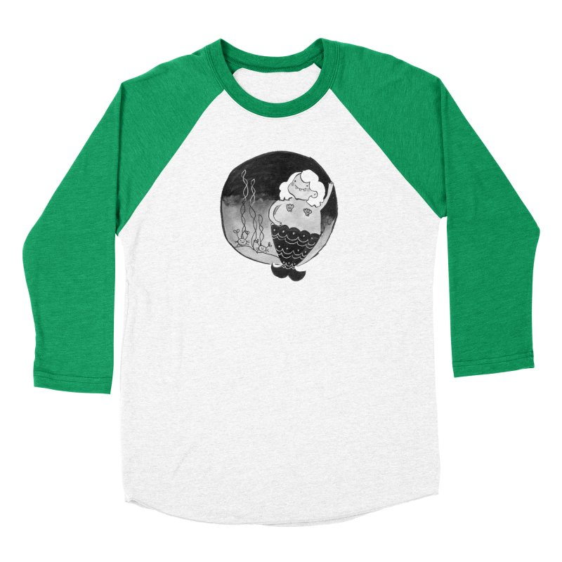 Fat Mermaid - Hair Color Matches Product Color Women's Baseball Triblend Longsleeve T-Shirt by Tianguis