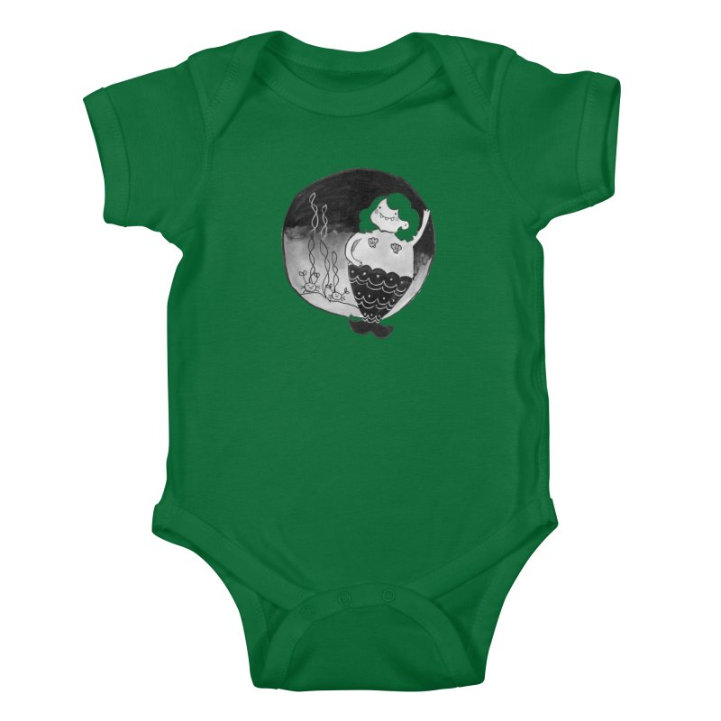 Fat Mermaid - Hair Color Matches Product Color Kids Baby Bodysuit by Tianguis
