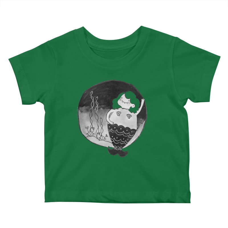 Fat Mermaid - Hair Color Matches Product Color Kids Baby T-Shirt by Tianguis