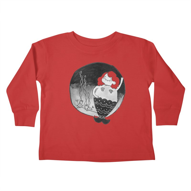 Fat Mermaid - Hair Color Matches Product Color Kids Toddler Longsleeve T-Shirt by Tianguis