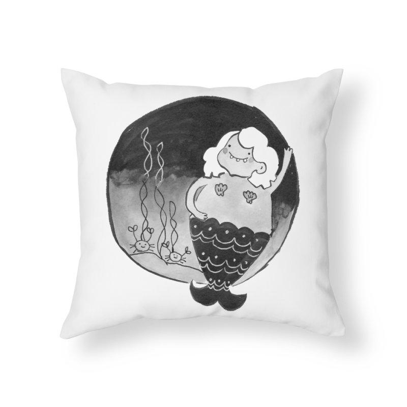 Fat Mermaid - White Hair Home Throw Pillow by Tianguis