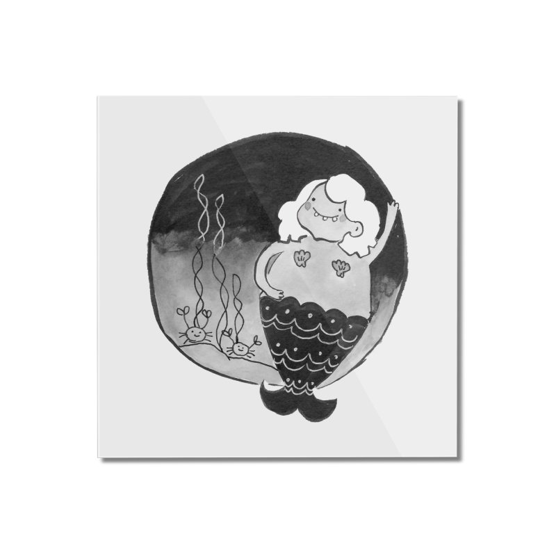 Fat Mermaid - White Hair Home Mounted Acrylic Print by Tianguis