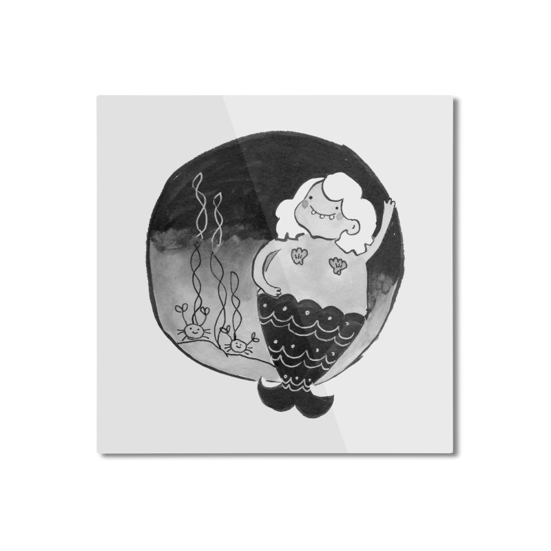 Fat Mermaid - White Hair Home Mounted Aluminum Print by Tianguis