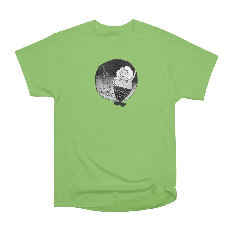 Fat Mermaid - White Hair Men's Heavyweight T-Shirt by Tianguis