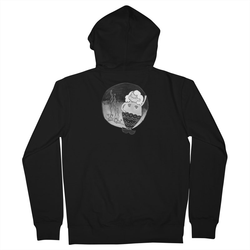 Fat Mermaid - White Hair Men's French Terry Zip-Up Hoody by Tianguis