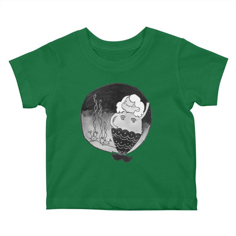 Fat Mermaid - White Hair Kids Baby T-Shirt by Tianguis