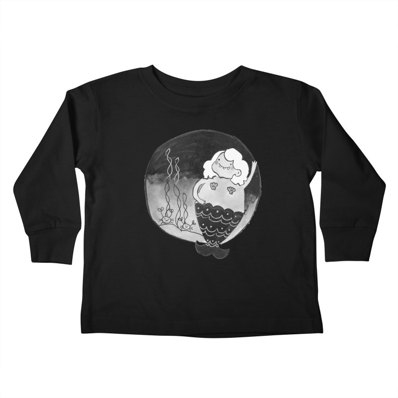Fat Mermaid - White Hair Kids Toddler Longsleeve T-Shirt by Tianguis