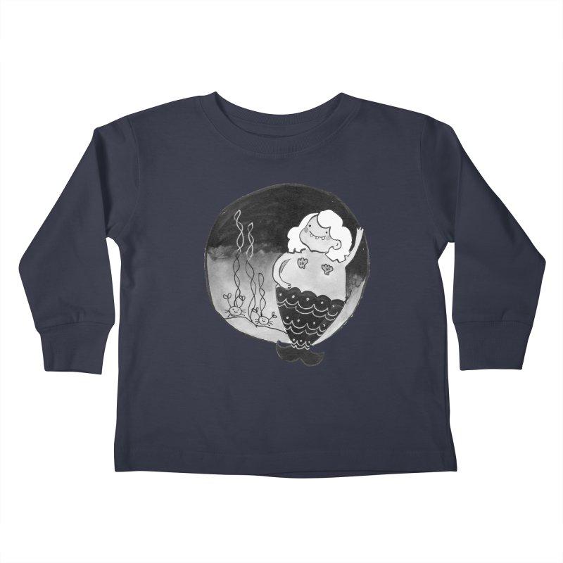 Fat Mermaid - White Hair Kids Toddler Longsleeve T-Shirt by Tianguis